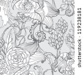 Seamless floral background, hand drawn illustration for design - stock photo
