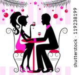 Silhouette of the couple, romantic New Year or Christmas dinner, illustration - stock photo