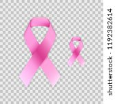 realistic pink ribbon  breast... | Shutterstock .eps vector #1192382614