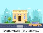 bank building  vector flat... | Shutterstock .eps vector #1192386967