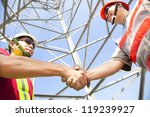 two power line tower workers... | Shutterstock . vector #119239927