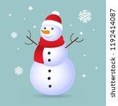 christmas snowman isolated on... | Shutterstock .eps vector #1192414087