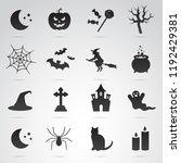 halloween symbols. vector icons ... | Shutterstock .eps vector #1192429381