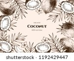 vector frame with coconuts and... | Shutterstock .eps vector #1192429447