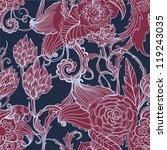 Seamless dark floral background, hand drawn illustration for design, vector - stock vector