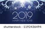 happy hew 2019 year  shining... | Shutterstock .eps vector #1192436494