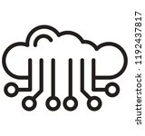 cloud computing line isolated... | Shutterstock .eps vector #1192437817