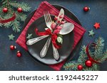 flat lay with xmas decorations... | Shutterstock . vector #1192445227