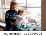happy adorable kid boy and cute ... | Shutterstock . vector #1192449301