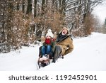 grandfather and small girl... | Shutterstock . vector #1192452901