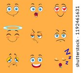 funny cartoon comic faces on... | Shutterstock .eps vector #1192461631