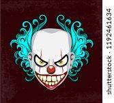 Evil Creepy Clown Face. Angry...