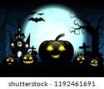 halloween pumpkins and dark... | Shutterstock .eps vector #1192461691
