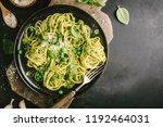 tasty appetizing pasta...   Shutterstock . vector #1192464031