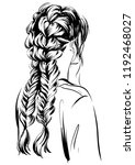 messy stylish braided hairstyles | Shutterstock .eps vector #1192468027