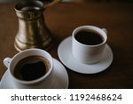 two cups of turkish coffee on... | Shutterstock . vector #1192468624