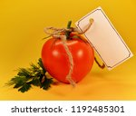 tomato with tag for text on... | Shutterstock . vector #1192485301
