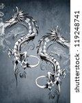 Two Fantasy Dragons  Tattoo Art
