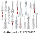 Radio tower vector towered communication technology antenna construction in city with network wireless signal station illustration set of towering broadcast equipment isolated on white background