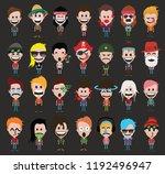 set of people cute cartoon... | Shutterstock .eps vector #1192496947