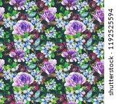 watercolor flower seamless... | Shutterstock . vector #1192525594
