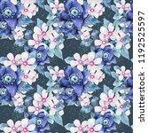 watercolor flower seamless... | Shutterstock . vector #1192525597
