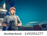 satisfied truck driver finished ... | Shutterstock . vector #1192551277