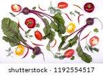 freshly picked vegetables... | Shutterstock . vector #1192554517