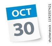 october 30   calendar icon  ... | Shutterstock .eps vector #1192557421