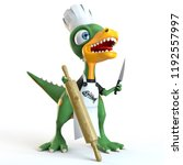 funny dinosaur cook with knife... | Shutterstock . vector #1192557997