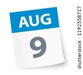 august 9   calendar icon  ... | Shutterstock .eps vector #1192558717