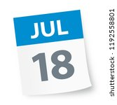 july 18   calendar icon  ... | Shutterstock .eps vector #1192558801