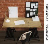 interior of home workplace.... | Shutterstock . vector #1192559851