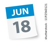 june 18   calendar icon  ... | Shutterstock .eps vector #1192560121