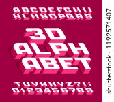 3d alphabet font. three... | Shutterstock .eps vector #1192571407