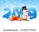 volumetric digits 2019 and... | Shutterstock .eps vector #1192577941