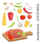 meat served on board isolated... | Shutterstock .eps vector #1192578421