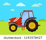tractor machinery of farm on... | Shutterstock .eps vector #1192578427
