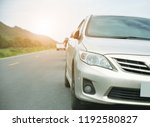 Stock photo car parked on road and small passenger car seat on the road used for daily trips 1192580827