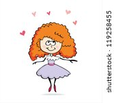 cartoon girl in love | Shutterstock .eps vector #119258455