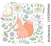 squirrel with flowers forest... | Shutterstock .eps vector #1192599064