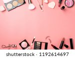 cosmetic make up flat lay pink...   Shutterstock . vector #1192614697