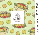 background with falafel in pita ... | Shutterstock .eps vector #1192617361