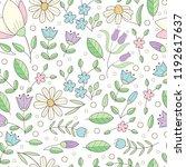 flower seamless outline pattern.... | Shutterstock .eps vector #1192617637
