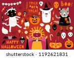 Stock vector big halloween set with cute animals lion cat llama wolf in costumes ghosts pumpkin candy 1192621831