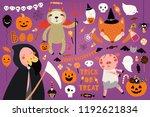 big halloween set with cute... | Shutterstock .eps vector #1192621834