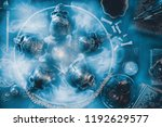 view of crystal ball and skull... | Shutterstock . vector #1192629577