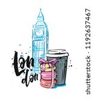 big ben  macaroon and coffee in ... | Shutterstock .eps vector #1192637467