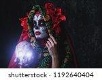 a portrait of calavera catrina. ... | Shutterstock . vector #1192640404