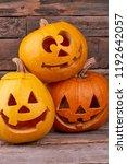 three funny halloween pumpkins. ... | Shutterstock . vector #1192642057